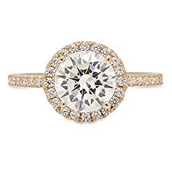 Clara Pucci 1.85 ct Round Brilliant Cut Simulated Diamond CZ Designer Halo Solitaire Wedding Anniversary Promise Ring Bridal Band Solid 14k Yellow Gold