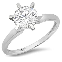 Clara Pucci 2.0 CT Brilliant Round Cut Simulated Diamond CZ Solitaire Engagement Wedding Ring Solid 14k White Gold