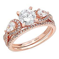 Clara Pucci 2.0 CT Round Pear Cut Simulated Diamond CZ Pave Halo Bridal Engagement Wedding Ring Band Set 14k Rose Gold