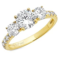 Clara Pucci 2.2 Ct Round Cut Pave Three Stone Accent Promise Bridal Anniversary Engagement Wedding Band Ring 14K Yellow Gold