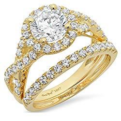 Clara Pucci 2.40 CT Round Cut Simulated Diamond CZ Pave Halo Bridal Engagement Wedding Ring Band Set 14k Yellow Gold