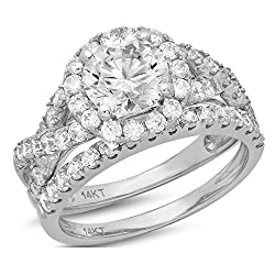 Clara Pucci 2.6 Ct Round Cut Pave Halo Engagement Wedding Bridal Anniversary Ring Band Set 14K White Gold