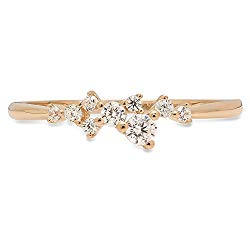 Clara Pucci Round Cut Cluster Pyramid Bridal Anniversary Engagement Wedding Promise Ring Band 14K Yellow Gold, 0.03CT