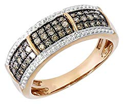 Clearance 0.37Ct Natural Brown Diamond & Diamond Effect Anniversary Ring