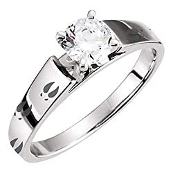 Deer Track Sterling Silver Engraved Engagement Ring Animal Print Track Solitaire Outdoors Woman