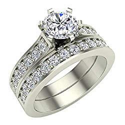 Diamond Wedding Ring Set for Women Bridal Sets 14K Gold – 1.25 ctw Cathedral Style (J,I1)