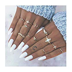 Edary Boho Knuckle Rings Vintage Crystal Joint Knuckle Ring Set with Cresent for Women and Girls.(12Pcs)