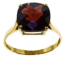 Galaxy Gold 14k Solid Yellow Gold Ring with Natural Checkerboard Cut Garnet