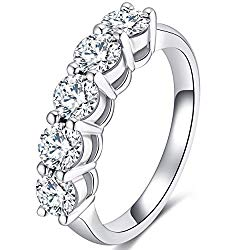 GEM DE LUXE 1.25ct 2.3mm Band Width F-G Color Moissanite Eternity Wedding Band Platinum Plated Silver for Women