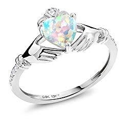 Gem Stone King 0.81 Ct Heart Shape White Simulated Opal White Diamond 10K White Gold Irish Celtic Claddagh Ring