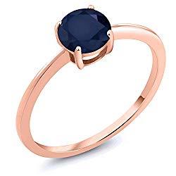Gem Stone King 1.00 Ct Round Blue Sapphire 10K Rose Gold Gemstone Birthstone Women's Ring (Available 5,6,7,8,9)