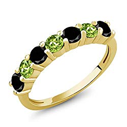Gem Stone King 1.22 Ct Round Black Diamond Green Peridot 18K Yellow Gold Plated Silver Anniversary Ring
