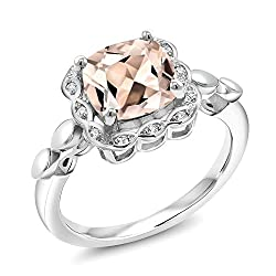 Gem Stone King 1.98 Ct Cushion Peach Morganite White Created Sapphire 925 Sterling Silver Engagement Ring