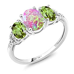 Gem Stone King 10K White Gold Engagement Ring 1.65 Ct Oval Cabochon Pink Simulated Opal Green Peridot