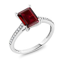 Gem Stone King 10K White Gold Red Garnet and White Diamond Women's Engagement Ring (2.08 Ct Emerald Cut Available 5,6,7,8,9)
