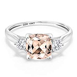 Gem Stone King 10K White Gold Solitaire w/Accent Stones Ring Cushion Peach Morganite and Timeless Brilliant Created Moissanite (IJK) 0.26ct (DEW)