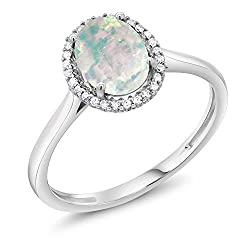 Gem Stone King 10K White Gold White Simulated Opal and Diamond Halo Women's Engagement Ring 1.05 Ct Oval Cabochon (Available 5,6,7,8,9)