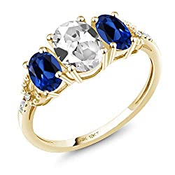 Gem Stone King 10K Yellow Gold Engagement Ring 2.22 Ct Oval White Created Sapphire Blue Created Sapphire