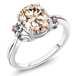Gem Stone King 2.08 Ct Oval Peach Morganite Pink Lab Grown Diamond 925 Sterling Silver Ring