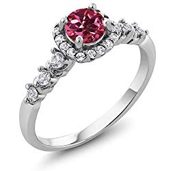 Gem Stone King 925 Sterling Silver Pink Tourmaline and White Created Sapphire Women's Ring 0.92 Ctw Round Cut (Available 5,6,7,8,9)