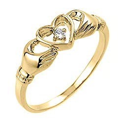 High Polish 10k Yellow Gold Diamond Solitaire Claddagh Ring
