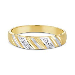 Ioka – 14K Two Tone Solid Gold CZ Women's Wedding Anniversary Band Ring