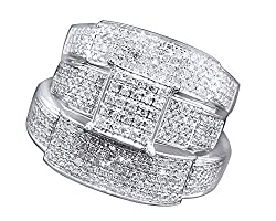 Jewel Zone US White Natural Diamond Engagement & Wedding Trio Band Ring Set in 10k Solid White Gold (0.96 Carat)