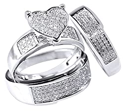 Jewel Zone US White Natural Diamond Heart Shape Engagement & Wedding Trio Band Ring Set in 10k Solid White Gold (0.75 Ct)