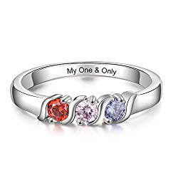 JewelOra Personalized Family Mothers Rings with 3 Simulated Birthstones Engraved Names Anniversary Rings for Grandma