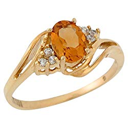 Jewelry Liquidation 10k Yellow Gold Natural Citrine and White Topaz Lovely Bypass Style Ladies Ring