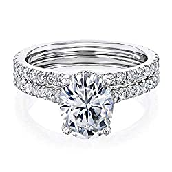 Kobelli 2.1ct Oval Forever One Moissanite Drop Halo Bridal Set