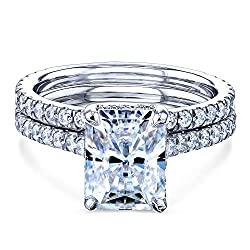 Kobelli 2.7ct Radiant Moissanite Drop Halo Bridal Set