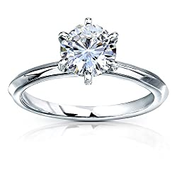 Kobelli Classic Solitaire Round Brilliant Moissanite Engagement Ring 1 Carat 14k White Gold (FG, VS)