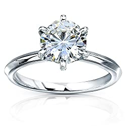 Kobelli Classic Solitaire Round Brilliant Moissanite Engagement Ring 2 Carats 14k White Gold