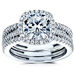 Kobelli Cushion Brilliant Moissanite Halo Bridal Wedding Rings Set 2 1/2 CTW 14k White Gold