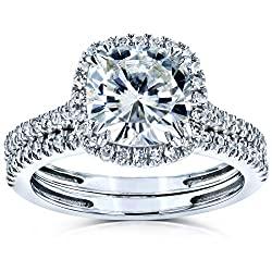 Kobelli Cushion Brilliant Moissanite Halo Bridal Wedding Rings Set 2 3/8 CTW 14k White Gold