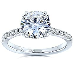 Kobelli Forever One Moissanite and Lab Grown Diamond Engagement Ring 1 3/4 CTW 14k White Gold (DEF/VS)
