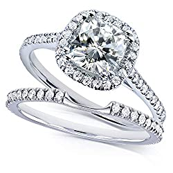 Kobelli Moissanite and Lab Grown Diamond Halo Bridal Rings Set 1 1/2 CTW in 14k White Gold (HI/VS, DEF/VS)