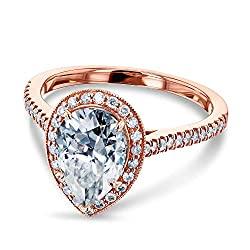 Kobelli Pear Shape Forever One Moissanite Halo Ring