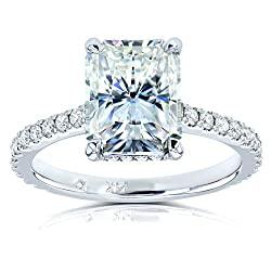 Kobelli Radiant-cut Moissanite Engagement Ring 3 1/10 CTW 14k White Gold