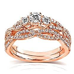 Kobelli Round Diamond Braided Bridal Set 1/2 Carat (ctw) in 14k Rose Gold