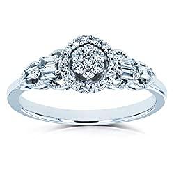Kobelli Unique Diamond Engagement Ring 1/4 CTW 10k White Gold