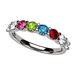 NANA U'r Family Ring 1 to 9 Simulated Birthstones in Solid 14k Gold