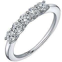 Peora Lab Grown Diamond 5-Stone Trellis Ring Band in 14K White Gold, 1/2 Carat Total, E-F Color, SI Clarity, 1.5mm width, Sizes 4 to 9