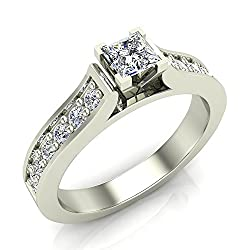 Princess Cut Center Accented Diamond Engagement Ring 14K Gold 1/2 ct tw (G,SI) Extra-Ordinary Quality