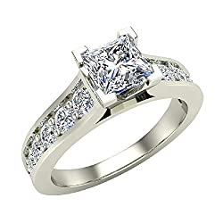 Princess Cut Diamond Engagement Ring Riviera Shank 1.07 carat tw 14K Gold (J, I 1)