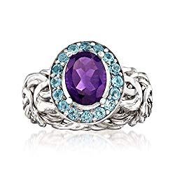 Ross-Simons 1.60 Carat Amethyst and .60 ct. t.w. Sky Blue Topaz Byzantine Ring in Sterling Silver