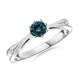 Tapered Shank Montana Sapphire Ring with Diamonds (5mm Teal Sapphire)