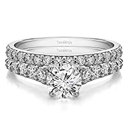 TwoBirch 2 Ring Bridal Set (Engagement Ring and Matching Wedding Ring) in 10k Gold and Diamonds (G,I2) (2.02 tw)