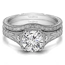 TwoBirch 2 Ring Bridal Set (Engagement Ring and Matching Wedding Ring) in 10k Gold with Diamonds (G,SI1) (1.31tw)